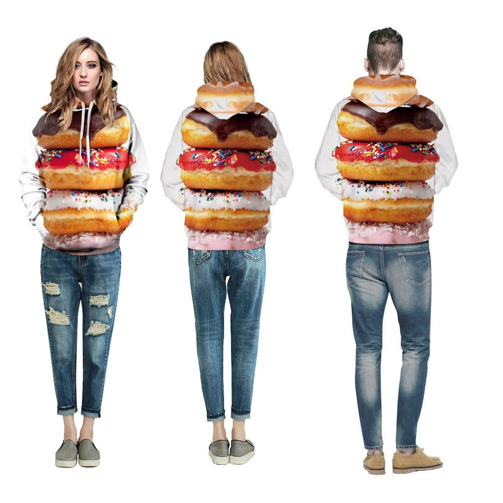 Unisex Fashion Sweatshirts Hoodies Colourful HD Donuts 3D Printed Long Sleeve for Student Casual Sportswear Hooded l//XL