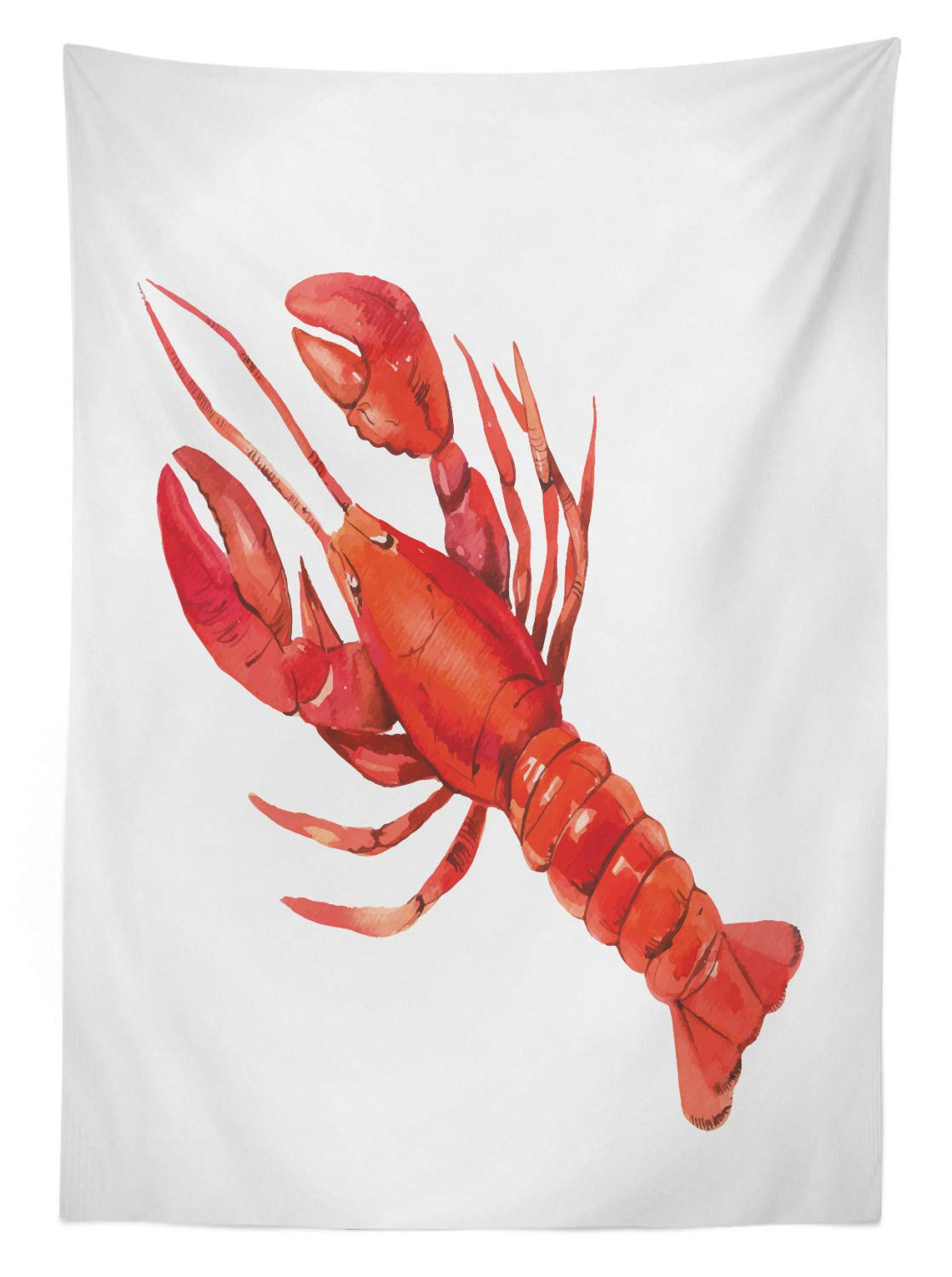 Ambesonne Lobster Outdoor Tablecloth, Watercolor Effect Crustacean Image Mediterranean Sea Food Cuisine Concept, Decorative Washable Picnic Table Cloth, 58'' X 120'', White and Vermilion by Ambesonne (Image #2)