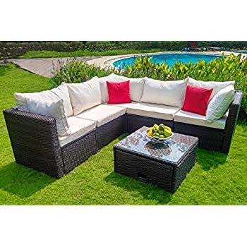 WEATHERPROOF Outdoor Patio 6 Piece Furniture Set With Coffee Table,  All Weather Wicker
