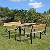 Generic O-8-O-4245-O Patio Wooden Top rest Se Set Folding en Top 3PC Beer Picnic Folding Backrest Seat Patio Garden ble Ben Table Bench NV_1008004245-TYQFUS32
