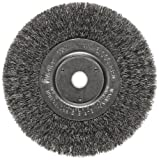 Weiler Trulock Narrow Face Wire Wheel Brush, Round Hole, Steel, Crimped Wire, 6'' Diameter, 0.008'' Wire Diameter, 5/8-1/2'' Arbor, 1-7/16'' Bristle Length, 3/4'' Brush Face Width, 6000 rpm