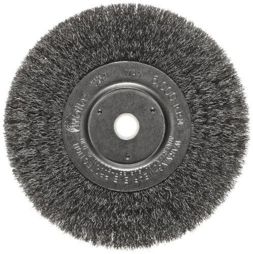 Narrow Face Wheel - Weiler Trulock Narrow Face Wire Wheel Brush, Round Hole, Steel, Crimped Wire, 6