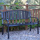 Cheap Pemberly Row 50″ L Strap Curved Back Steel Park Bench in Black