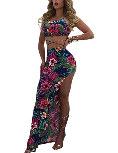 Boutiquefeel Maxi Vestido Floral Cruzado de Corte Alto con Bandage Conjunto de Falda de Playa para Mujer: Amazon.es: Ropa y accesorios