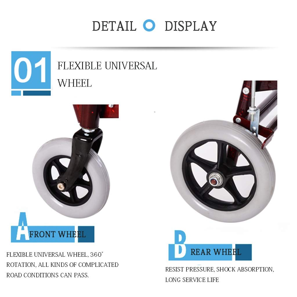 Milisome World Folding Shopping Cart for The Elderly, Four-Wheeled Walker Can Push or Sit, Old Man Trolley (Color : Wine red) by Milisome World (Image #5)