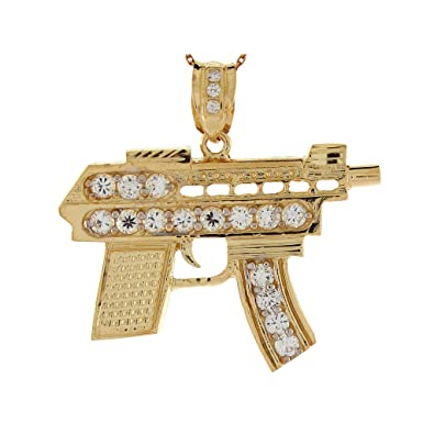 Amazon 10k yellow gold white cz machine gun charm pendant jewelry 10k yellow gold white cz machine gun charm pendant aloadofball Image collections