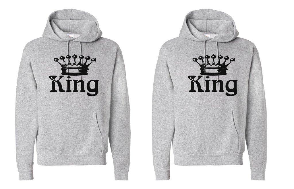 King and King Crowns King Shirt #1: XLarge//King Shirt #2: Medium Orange FASCIINO LGBT Matching Gay Pride His /& His Couple Hooded Sweatshirt Set