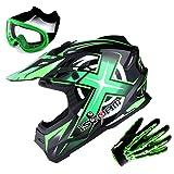 1Storm Adult Motocross Helmet BMX MX ATV Dirt Bike Helmet Racing Style Glossy Green; + Goggles + Skeleton Green Glove Bundle