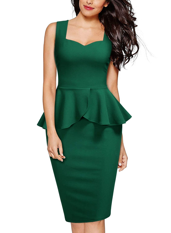 Miusol Damen Karree-Ausschnitt 3/4 Arm Reissverschluss vorne Schößchen Cocktailkleid Business Kleid