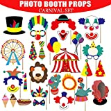 Carnival Photo Booth Props Circus Party Supplies - 49pcs Carnival Party Favors for Wedding/Bachelorette/Birthday Party Decorations