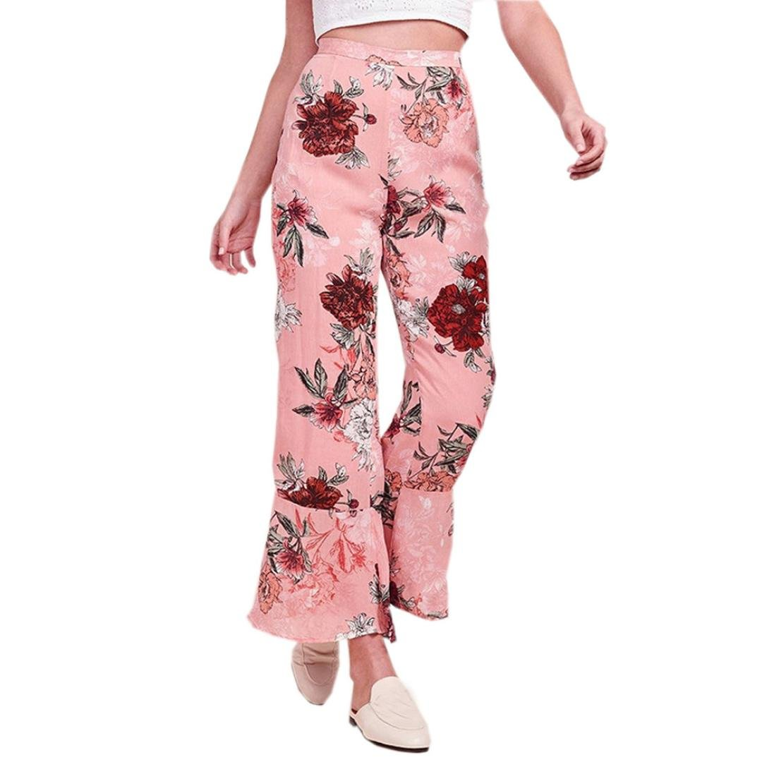 Spbamboo Fashion Women Floral Printed Pants Elastic Waist Wide Leg Lady Pants
