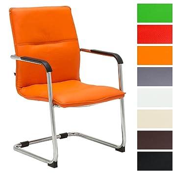 CLP Freischwinger Stuhl Mit Armlehne SEATTLE, Besucherstuhl, Konferenzstuhl  Gepolstert Orange