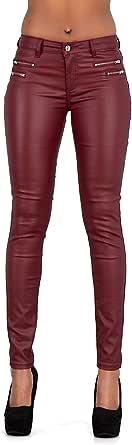 Crazy Lover Mujer Sexy Leggins Cuero con Bolsillo Skinny Elástico Pantalón