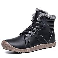 YIRUIYA Men's Waterproof Snow Boots Fully Fur Lined Winter Warm Shoes