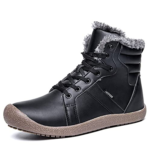 Men's Fur Lined Snow Boots Leather Winter Shoes Ankle High Top Grip Lace Up Sneakers