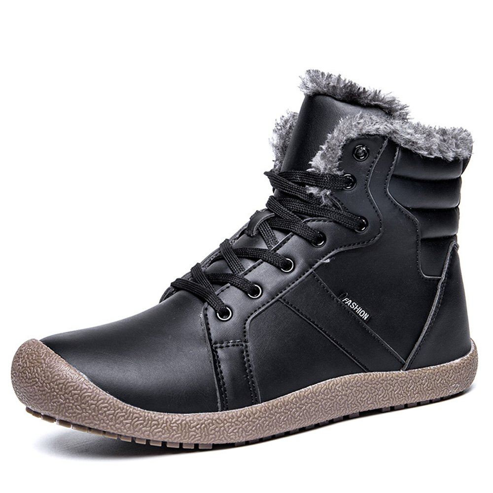 YIRUIYA Women Waterproof Leather Fur Lined Winter Snow Boots Shoes