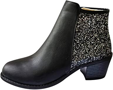 Ankle Boots Sequins Bling Thick Heel