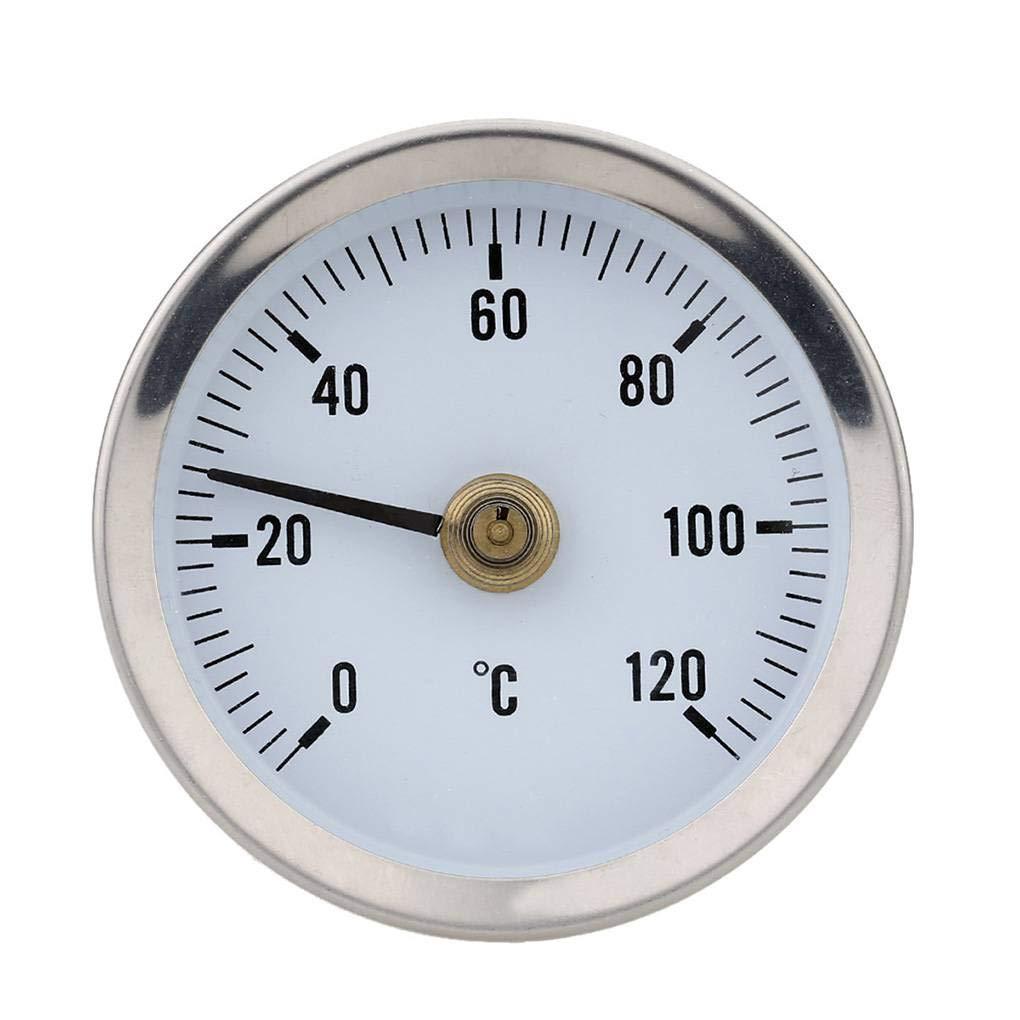 YILONG Hot Water Pipe 120/º term/ómetro bimet/álico Tubos de Acero Inoxidable de Superficie con Clip del Medidor de Temperatura Temp de Primavera