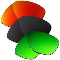 HKUCO Plus Mens Replacement Lenses For Oakley Jupiter Red/Black/Emerald Green Sunglasses