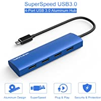 Wavlink USB C Hub USB Type C to 4-Ports USB 3.0 Hub Slim Aluminum Hub for USB-C for MacBook, Google Chromebook Pixel and More-Blue