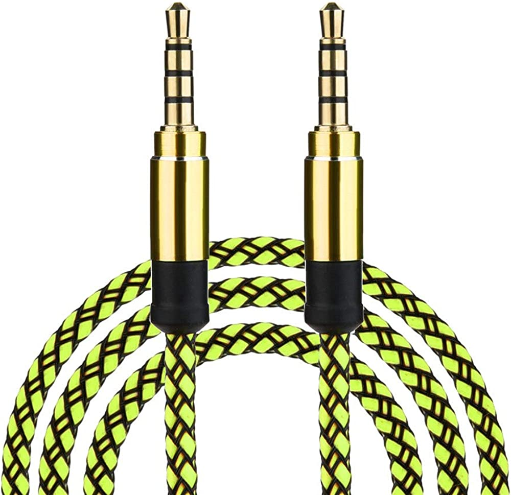 Cigou 1.5M//5Ft Braided Male to Male Aux 3.5mm Jack Stereo Audio Cable for Cell Phone Tablet