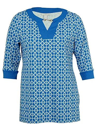 Charter Club Plus Size Printed Tunic Artic Sky Combo 2X