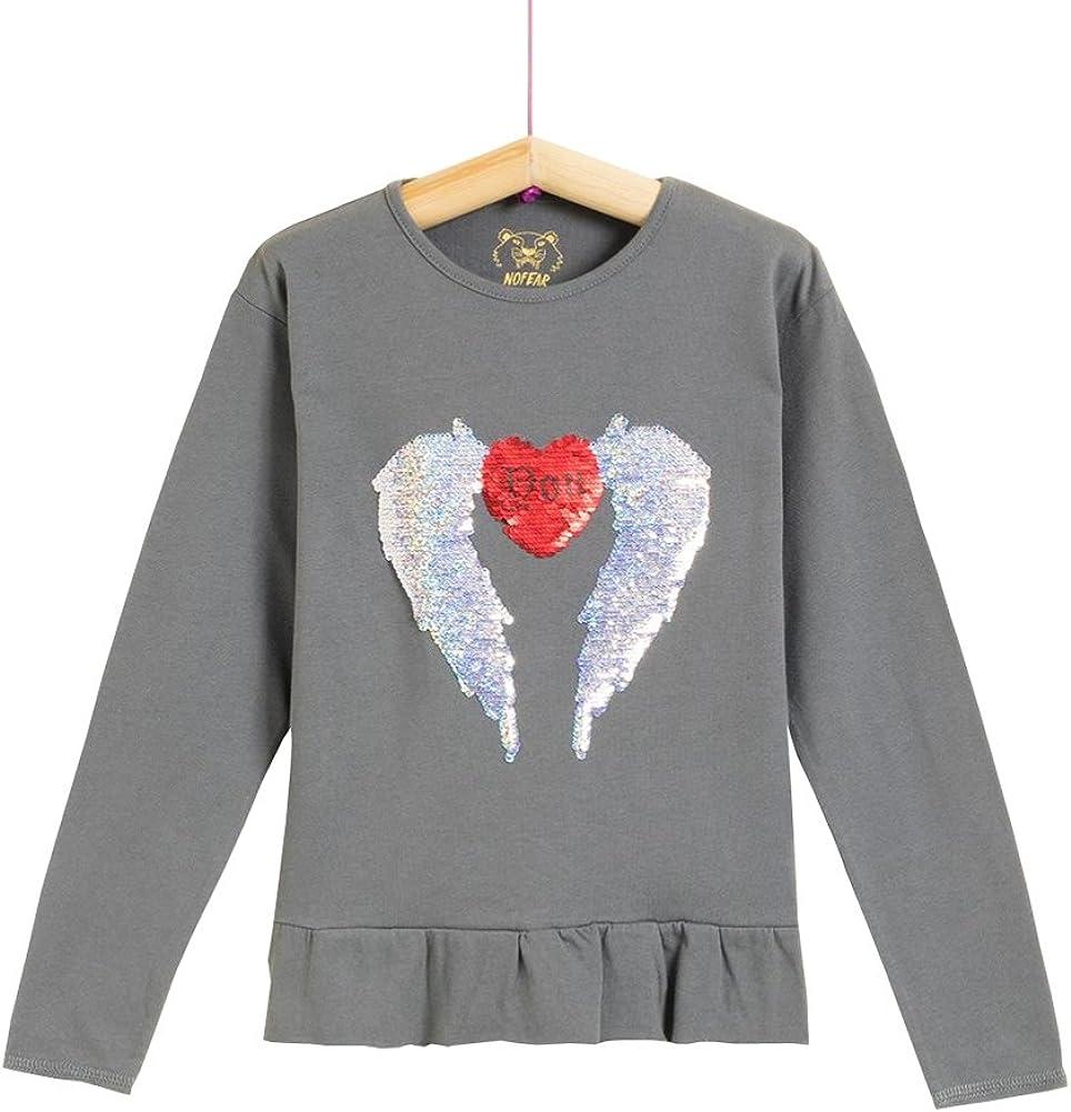Camiseta de Manga Larga con Lentejuelas Reversibles para niña (11-12a): Amazon.es: Ropa y accesorios