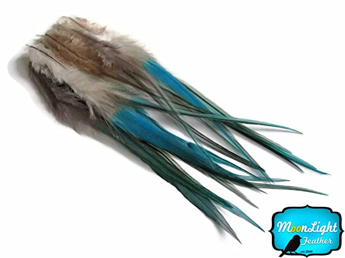 Medium SOLID LIGHT BLUE Rooster Hair Extension Feathers 1 Dozen