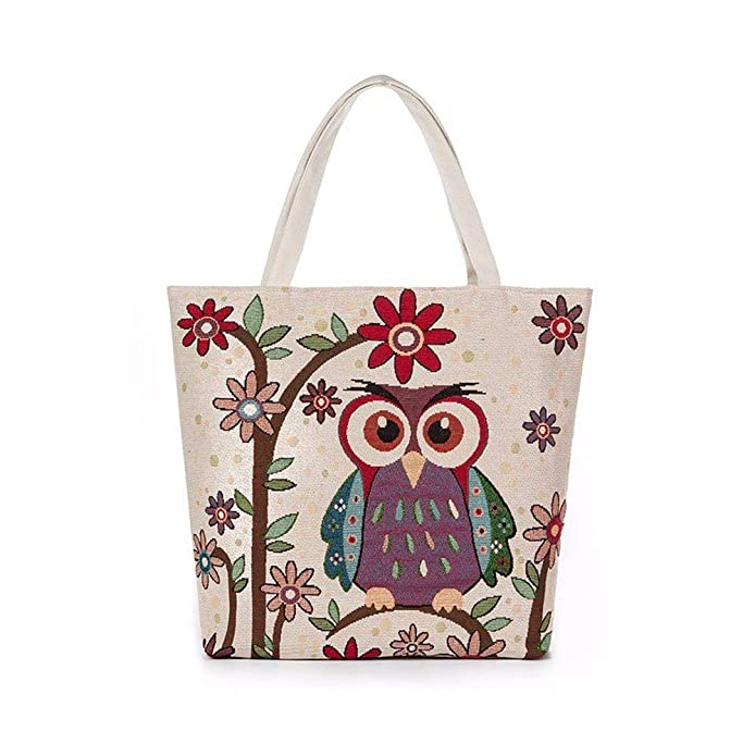 Amazon.com: Aelicy dropshipping new hot Selling Owl Printed Canvas Tote Casual Beach Bags Women Shopping Bag Handbags bolsa feminina Color G: Shoes