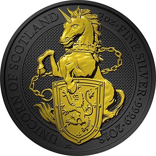 (2018 GB Golden Ruthenium Beasts PowerCoin UNICORN QUEEN BEASTS Golden Ruthenium 2 Oz Silver Coin 5£ United Kingdom 2018 BU Brilliant Uncirculated)