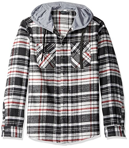 Burnside Men's Carlton Cotton Plaid Flannel Hooded Jacket, Charcoal, Large