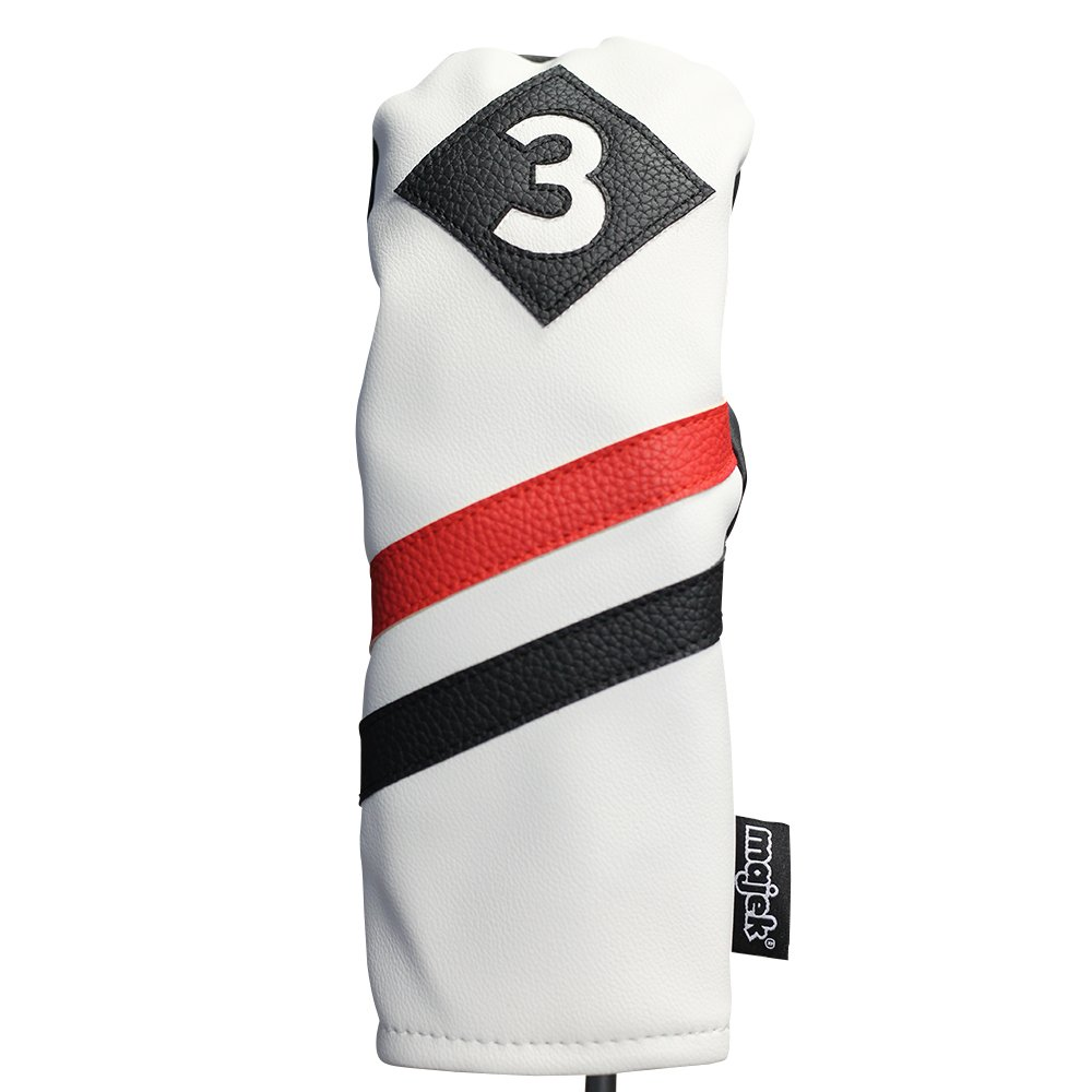 Majek Retro Golf Headcover White Red and Black Vintage Leather Style #3 Fairway Wood Head Cover Classic Look