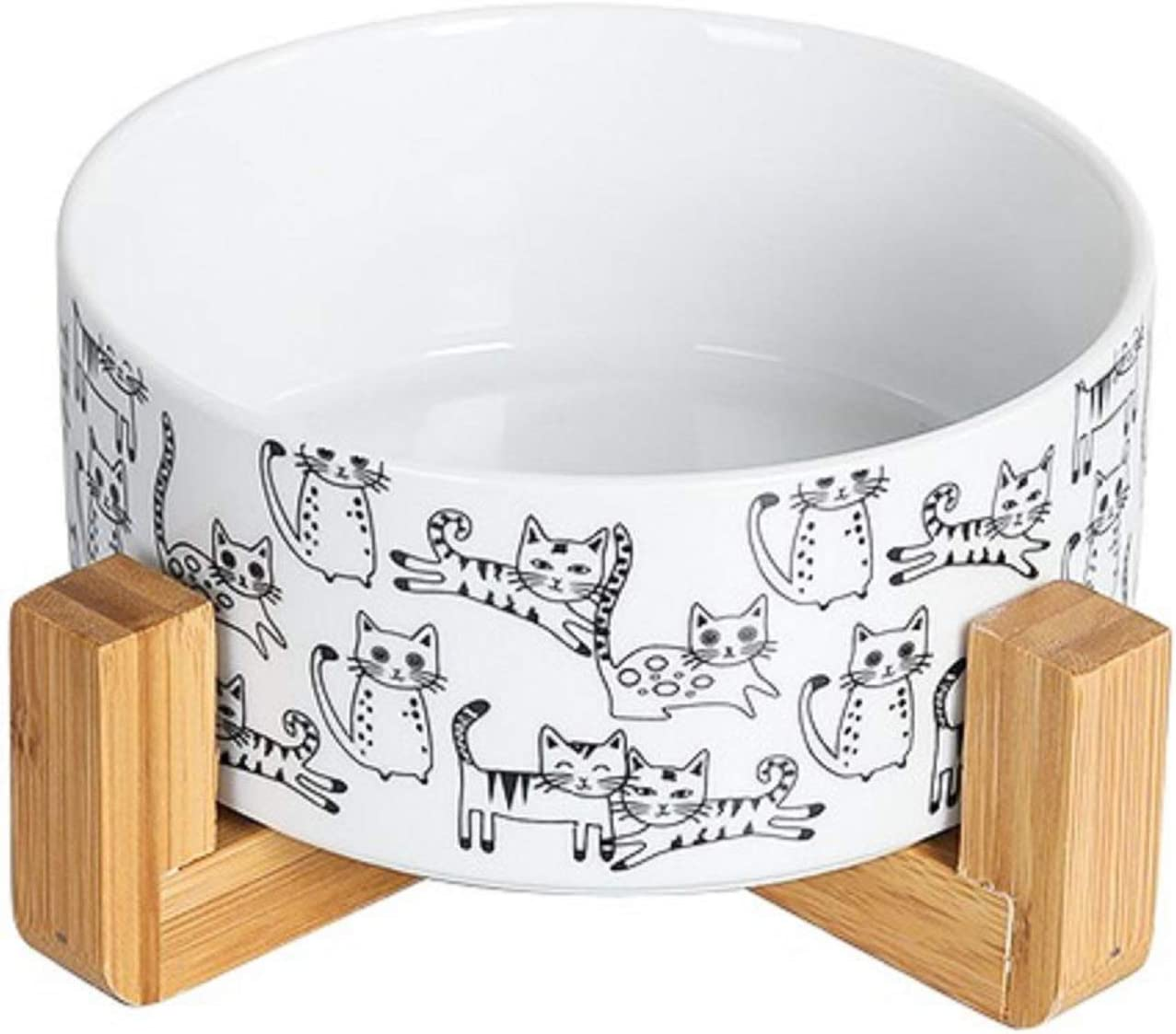 Ceramic Cat Water Bowl Feeder - Raised Cat Food Dish with Wood Stand,Elevated Cat Bowl No Spill,Ceramic Pet Bowls for Cats or Dogs,Dishwasher Safe ,28 Ounces(White)