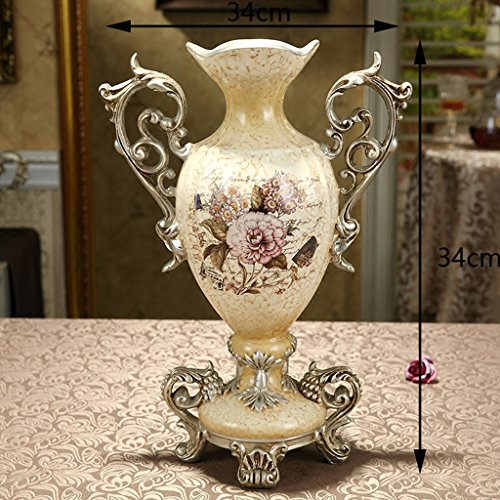 European-style Retro Resin Flowers Vase Living Room Dining Table Study Home Decoration Luxurious Creative Hand-painted Vase, Beige by The tail of July (Image #2)'