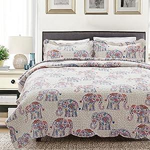 Printed Quilt Coverlet Set Bedspread King(106