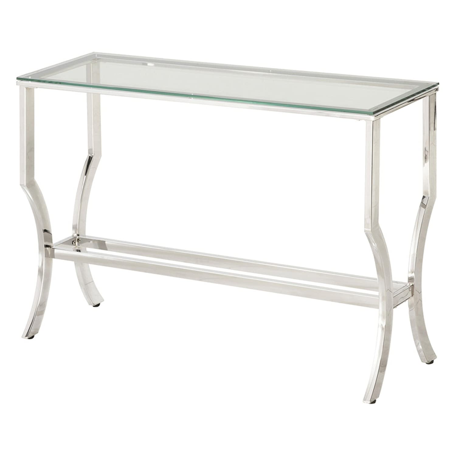amazoncom coaster glass top console table in chrome kitchen  - amazoncom coaster glass top console table in chrome kitchen  dining