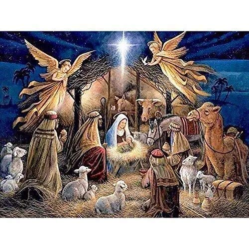 Jesus was Born Full Drill Diamond Painting by Number Kits,5D DIY Diamond Embroidery Rhinestone Cross Stitch Chrismas Gift Mosaic Paintings Pictures Arts Craft for Home Wall Decor (20X16inch/50X40cm) (Diamond X 50)