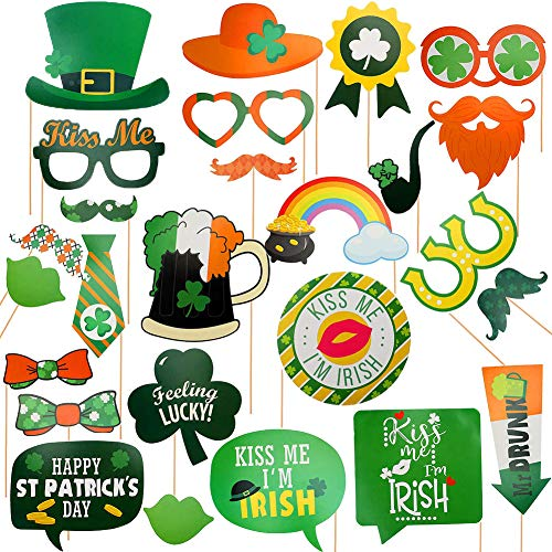 St. Patricks Day Photo Booth Props Kit(26Pcs) Irish Shamrock DIY Party Supplies Pictures Props Party Accessories for Irish Party St. Patty's Day Party -