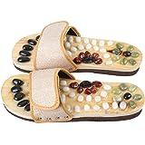 Romonacr Massage Slippers Foot Massager Shoes Shiatsu Relax Sandals with Natural Cobblestone Stones XL(Women 8.5/Men 7.5)
