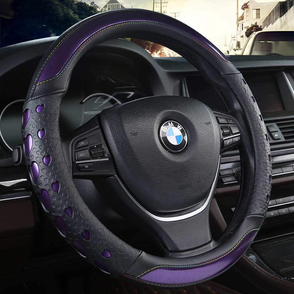 ANNIGI Volante Negro Coche Deportivo Cubierta del volante Cubiertas de dirección de cuero Cubierta de rueda universal de 38 CM