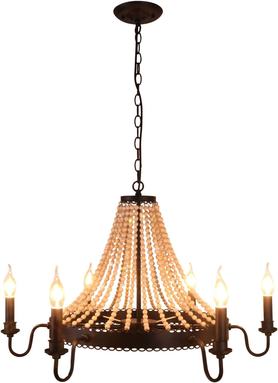 Unitary Brand Antique Black Metal and Wood Beads Decoration Wheel Candle Chandelier with 6 E12 Bulb Sockets 240W Painted Finish