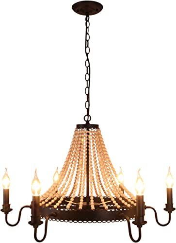 Unitary Brand Antique Black Metal and Wood Beads Decoration Wheel Candle Chandelier