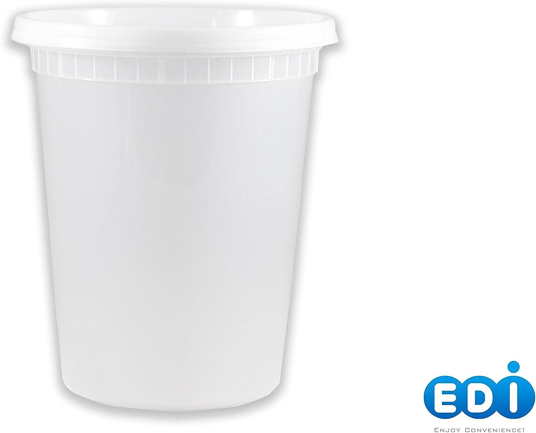 EDI 32 oz Deli Containers with Lids Clear Plastic Food Storage Container Premium Heavy-Duty Quality, Leak proof&Freezer&Dishwasher Safe (40, 32 OZ)