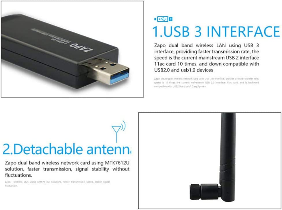 1200Mbps USB 3.0 WiFi 5G Adapter Receiver Network Card 802.11AC for All Windows Linux Systems 2 Pack,2pack GMACCE Wireless Network Card