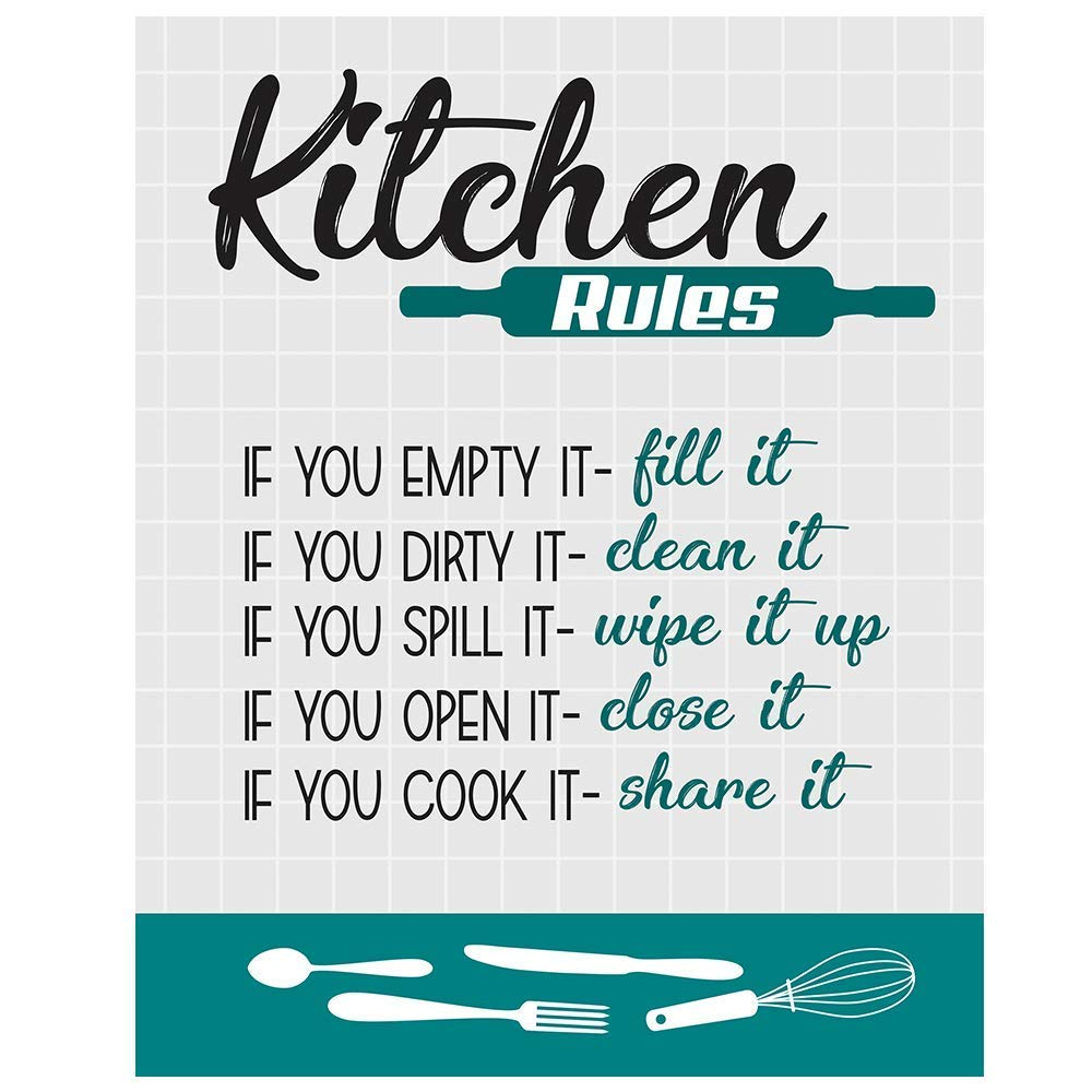 Amazon Com Teal Kitchen Rules Wall Decor 8 X 10 Unframed Kitchen Wall Art Print Teal Black White Gray Tones Perfect For Kitchen Dining Room Rustic Farmhouse Country Cottage Office Breakroom Handmade