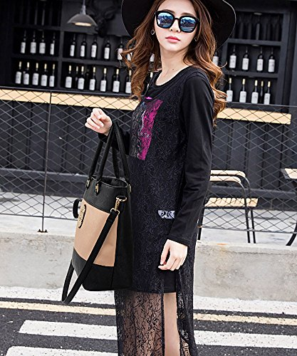 LeahWard Groß Größe mode Designer Berühmtheit Qualität Kunstleder Schultertasche Handtasche modisch Umhängetasche Tasche CWS00406 CWS00406A, A-Grey/Nude, Mittel Groß