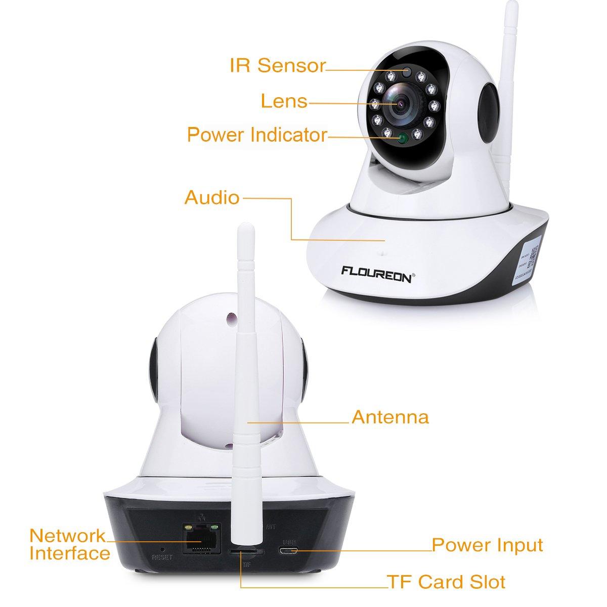 FLOUREON Cámara IP de Vigilancia inalámbrica con Infrarrojos (720P, WiFi 820.11b/g, H.264, P2P, Detección de Movimiento, Visión Nocturna), Color Blanco, N5810HH