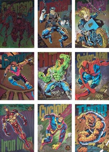 1994 Fleer Marvel Universe Series-V New Complete 9-Card Rainbow Border Power Blast Chase Set