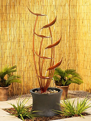 """Tiered Copper Leaves Indoor Outdoor 41"""" High Fountain"""