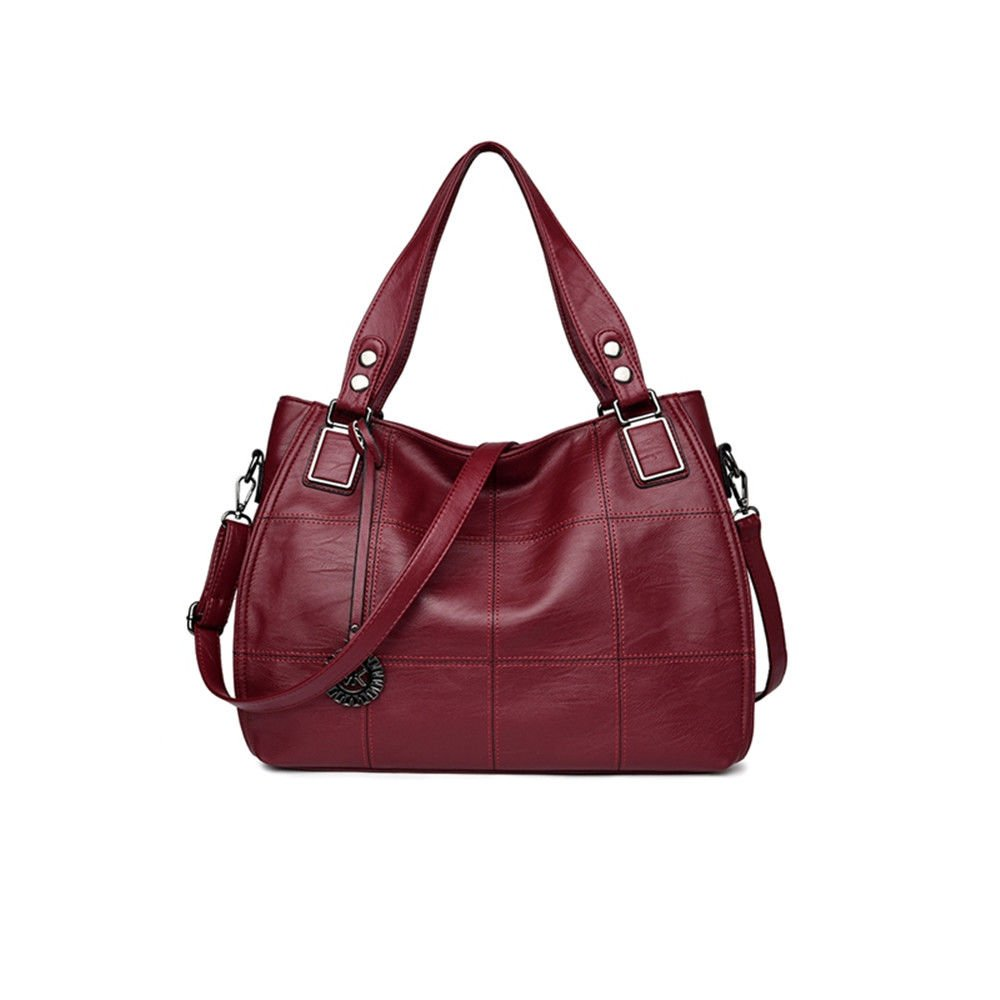 Fashion Single Shoulder Bag With Large Capacity And Soft Leather Bag,Claret,32X28X10Cm